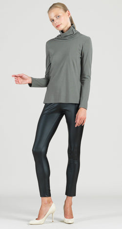 Modal Cotton Knit Turtleneck Long Sleeve Top - Olive