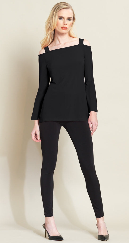Open Shoulder Bell Sleeve Top - Black - Limited Sizes!