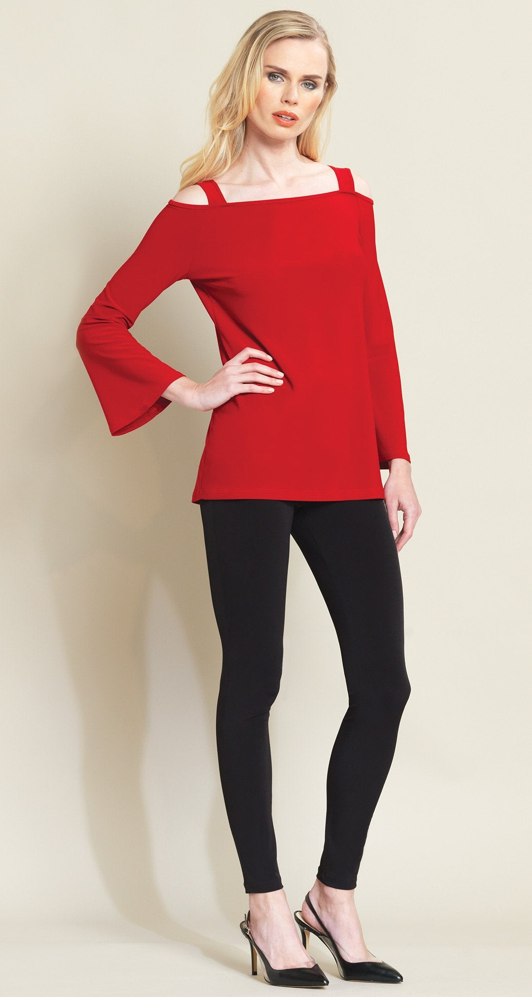 Open Shoulder Bell Sleeve Top - Red - Limited Sizes! - Clara Sunwoo