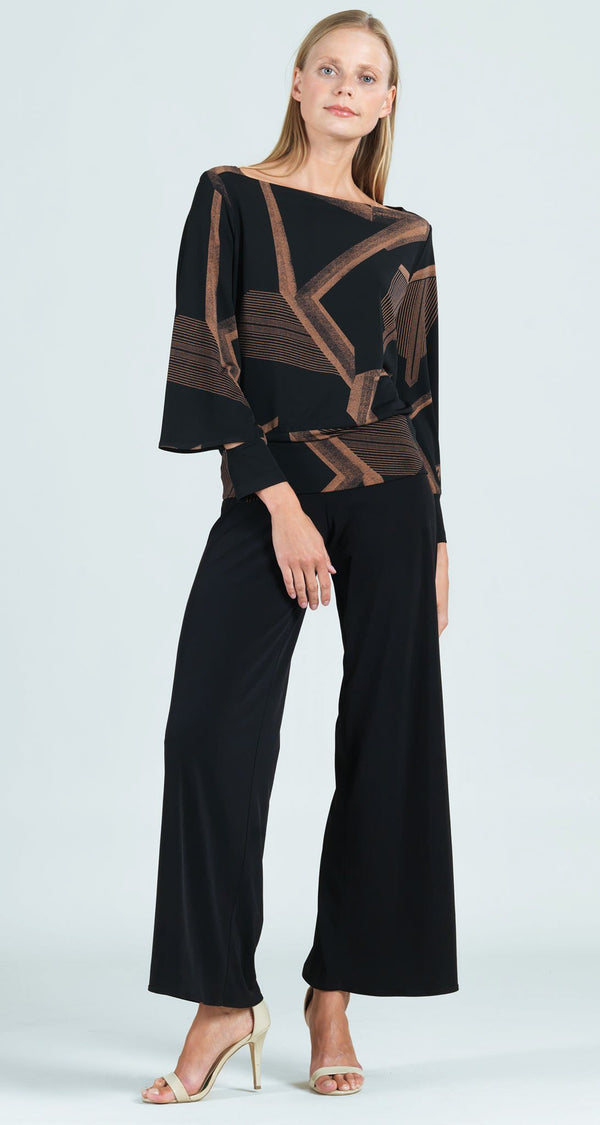 Geo Print Rectangular Boat Neck Peekaboo Cuff Sleeve Top - Final Sale!