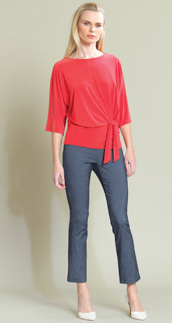 Solid Side Tie Top - Coral - Limited Sizes - M & 1X