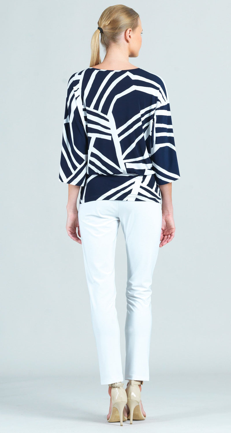 Zig Zag Stripe Print Side Tie 3/4 Length Sleeve Top