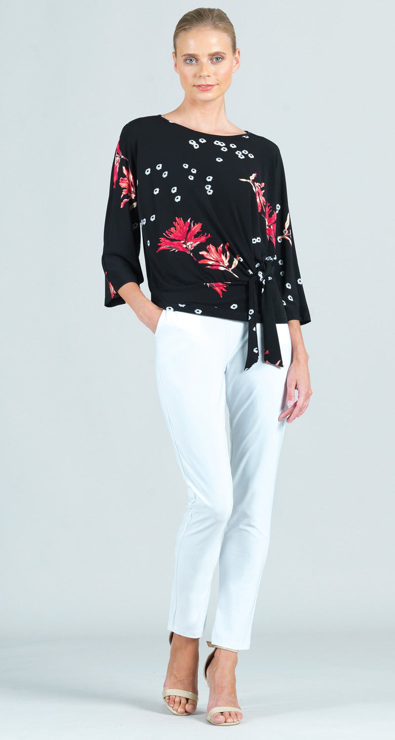 Floral Flake Print Side Tie 3/4 Length Sleeve Top