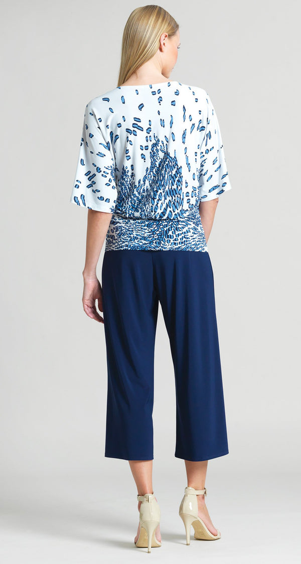 Geo Animal Print Side Tie Top - Navy - Clara Sunwoo