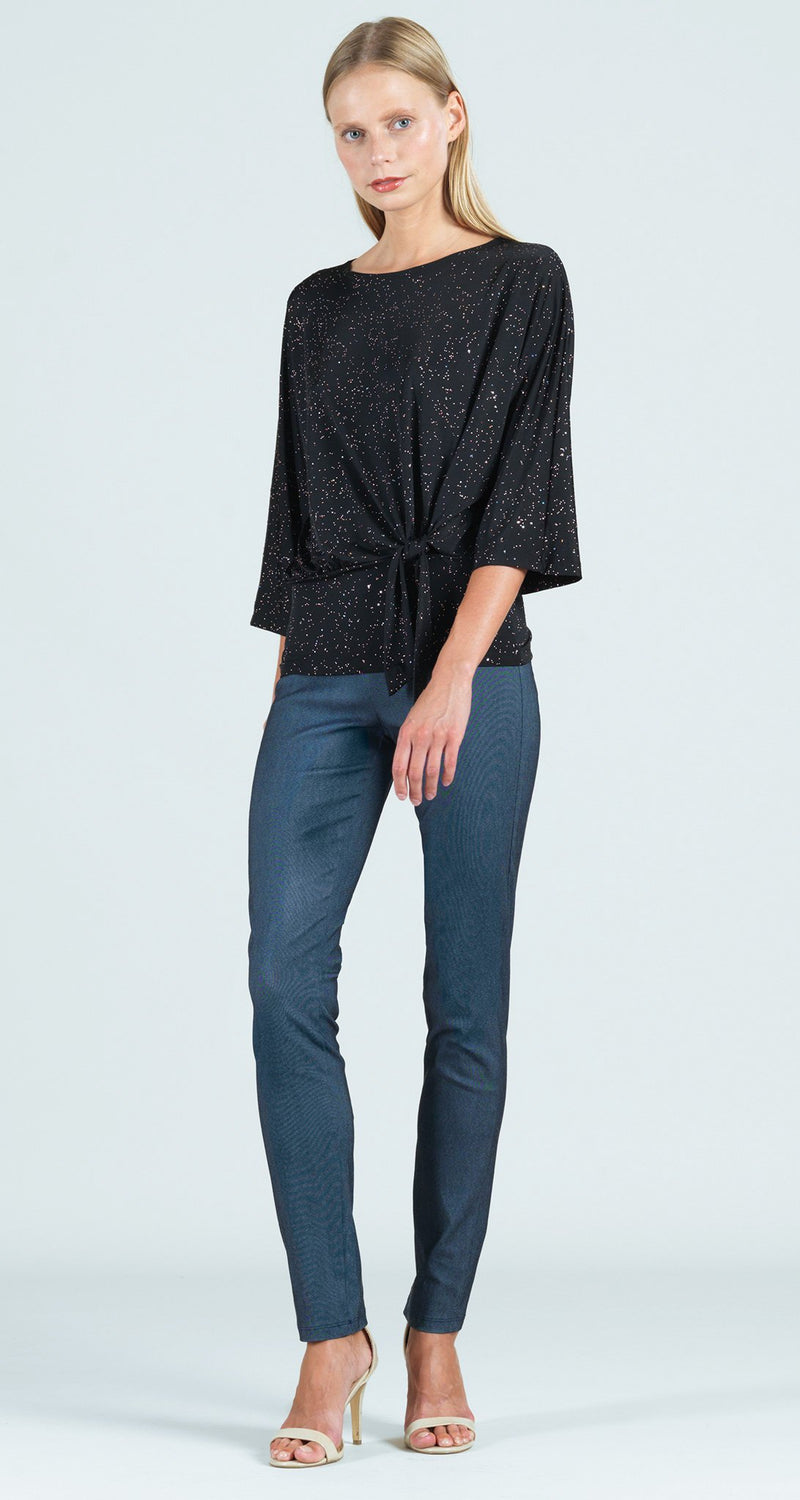 Starry Night Side Tie 3/4 Length Sleeve Top