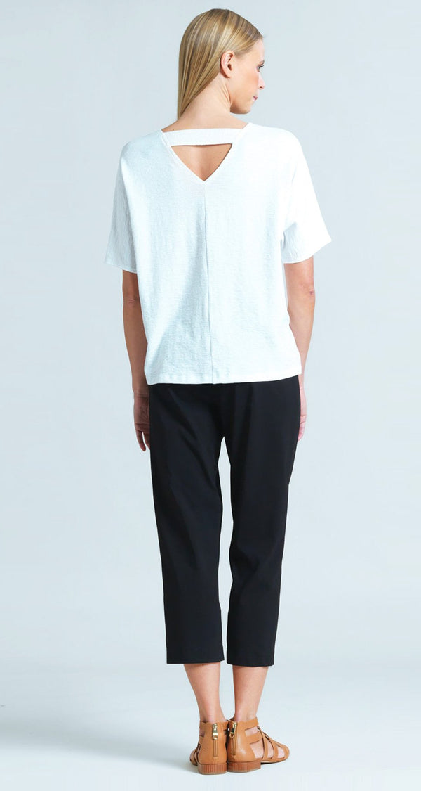Solid Cotton Knit V-Cross Bar Cut-Out Top - White