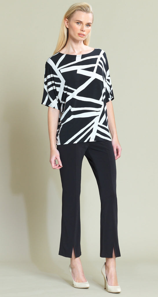 Geo Stripe Print V-Cross Bar Cut-Out Top - Black/White