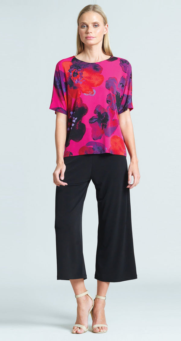 Poppy Print V-Cross Bar Cut Out Top - Final Sale!