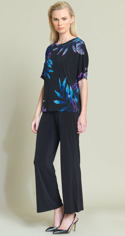 Tropical Leaf Print V-Cross Bar Cut-Out Top