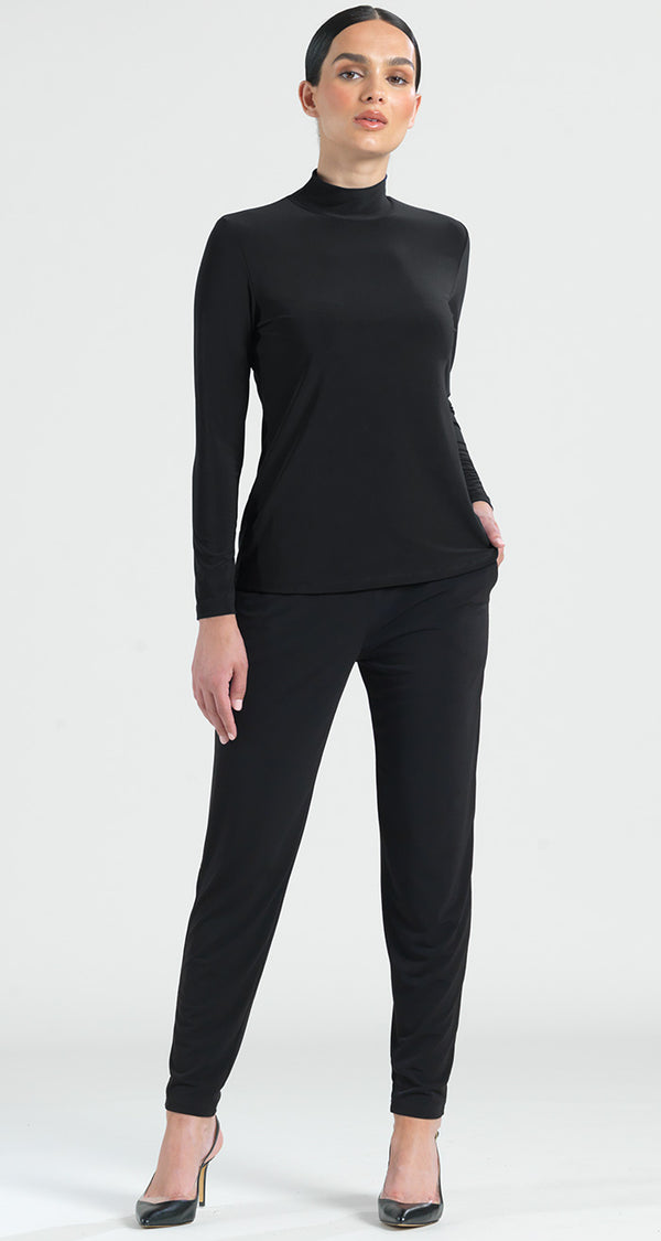 Basic Mock Neck Long Sleeve Top - Black - Final Sale! - Clara Sunwoo