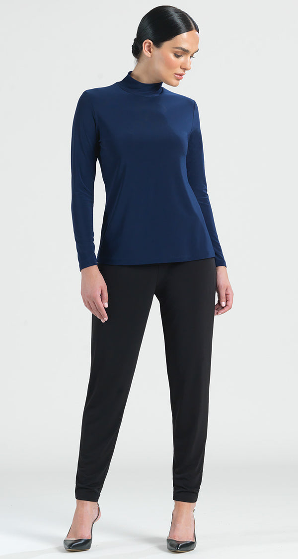 Basic Mock Neck Long Sleeve Top - Navy - Final Sale! - Clara Sunwoo