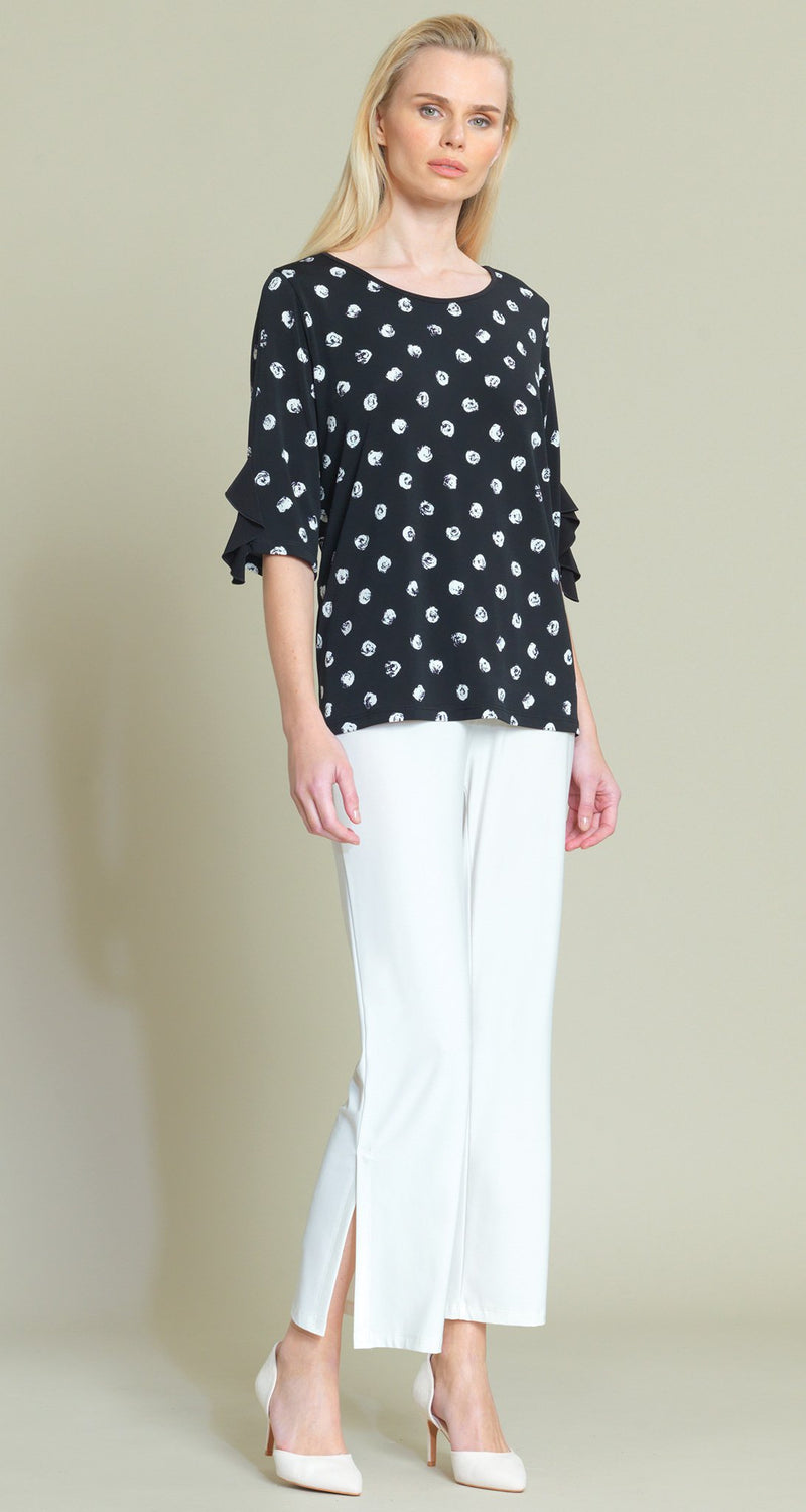 Mini Rose Print Ruffle Cuff Top - Black/White - Final Sale! - Clara Sunwoo