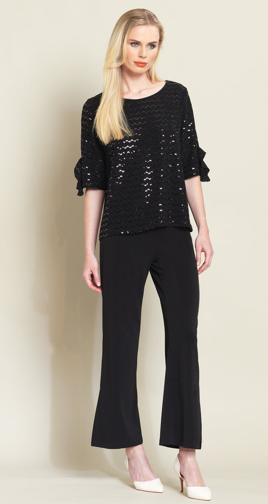 Shimmer Ruffle Cuff Top - Black