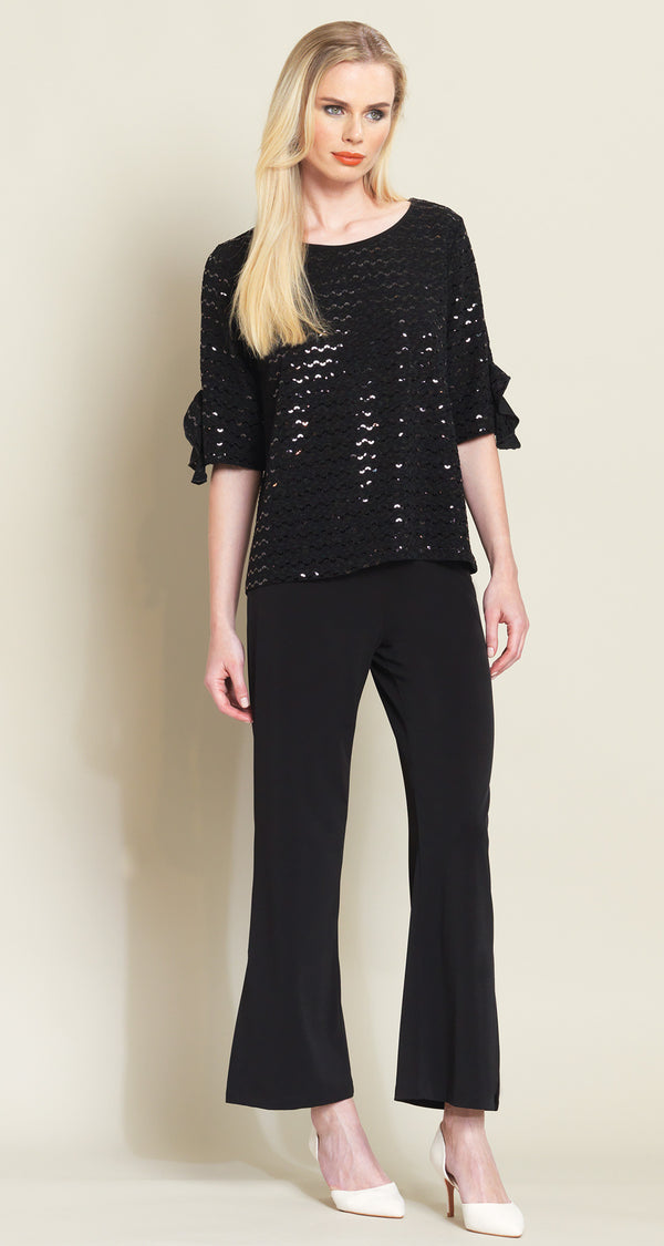 Shimmer Ruffle Cuff Top - Black - Final Sale!