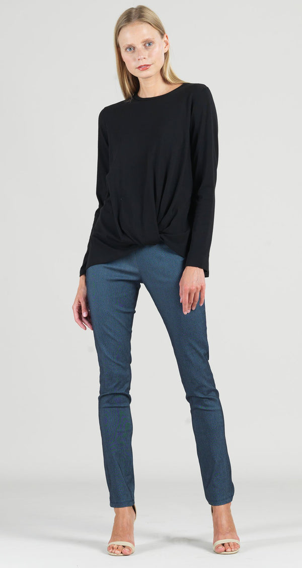 Modal Cotton Knit Long Sleeve Twist Hem Top - Black - Limited Sizes!