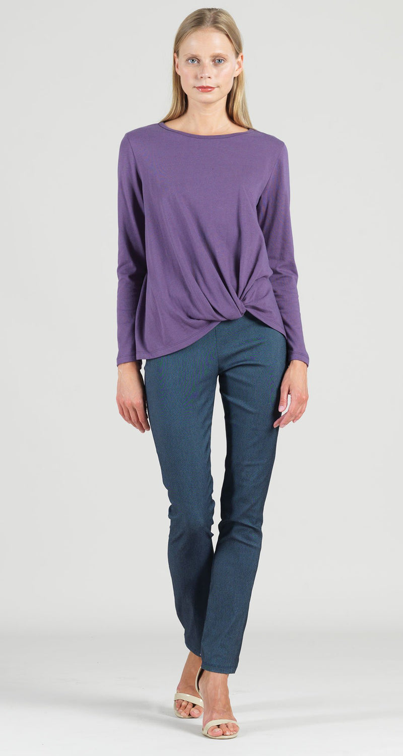 Modal Cotton Knit Twist Hem Top - Plum