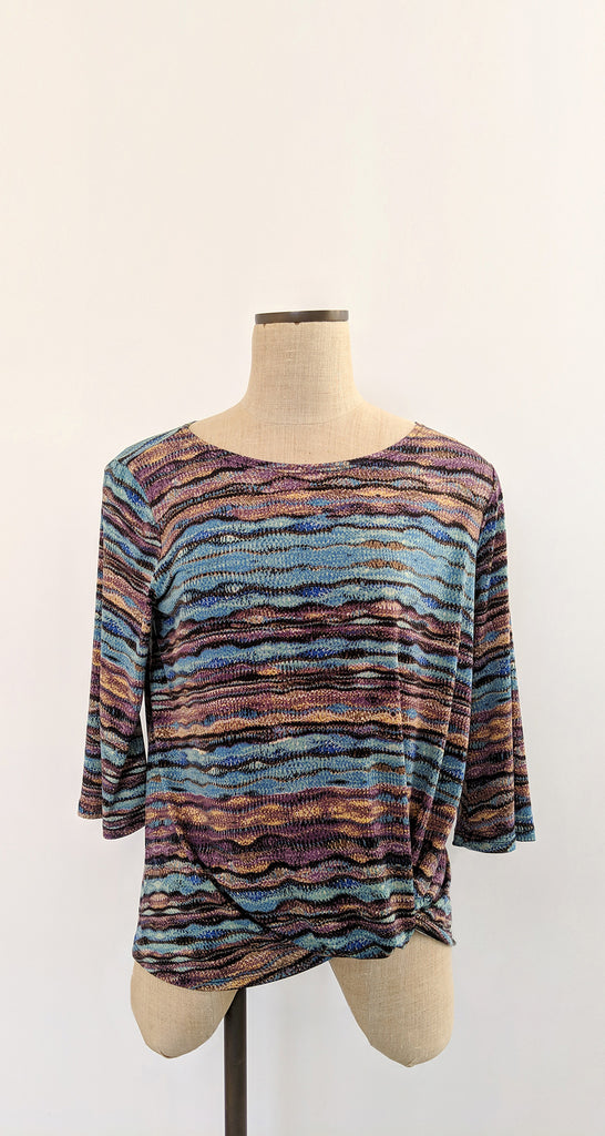 Abstract Print Twist Hem Top - Turquoise Multi - Final Sale