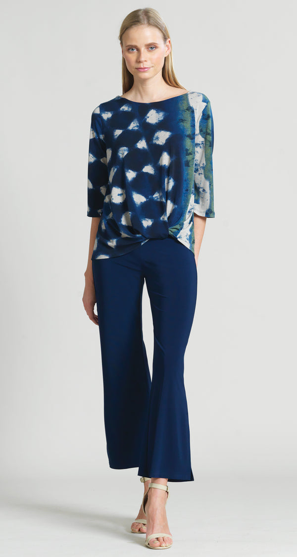 Diamond Denim Print Twist Hem Top - Final Sale - Clara Sunwoo