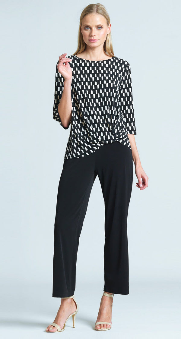 Geometric Rectangle Print Twist Hem Top - Ivory/Black - Final Sale!