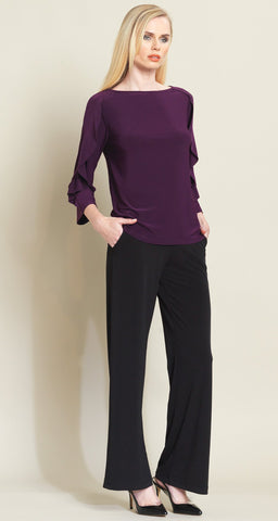 Ruffle Flutter Top - Eggplant - Final Sale!