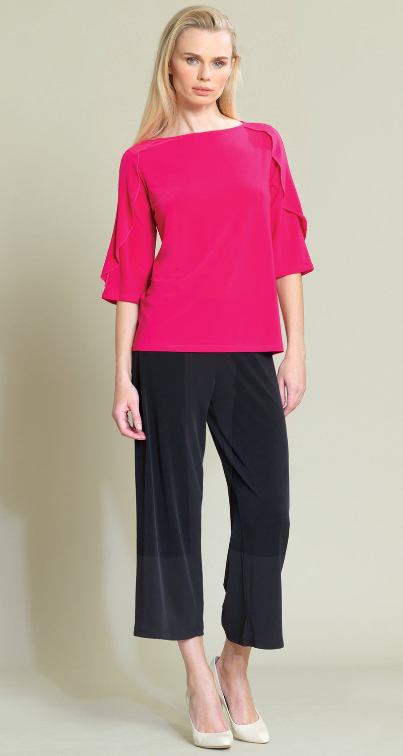 Ruffle Flutter Cropped Sleeve Top - Pink - Limited Sizes - XS & XL