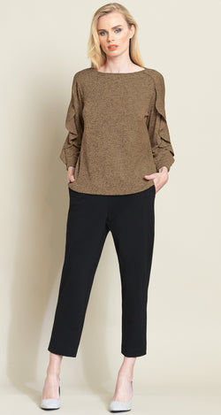 Ruffle Flutter Sleeve Sweater Top - Toffee - Limited Sizes!