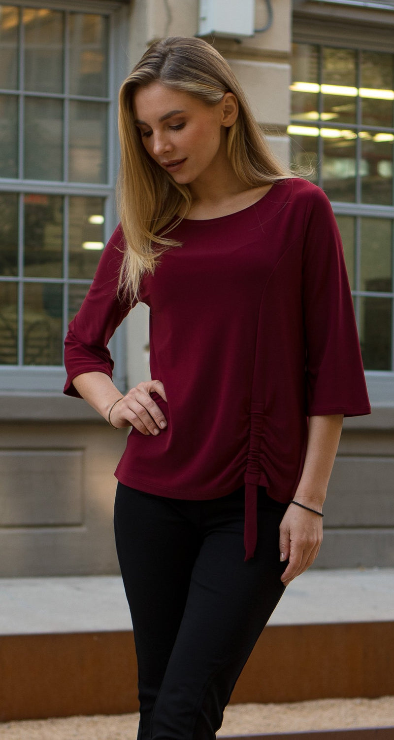 Faux Pull Tie Top - Merlot - Final Sale! - Clara Sunwoo