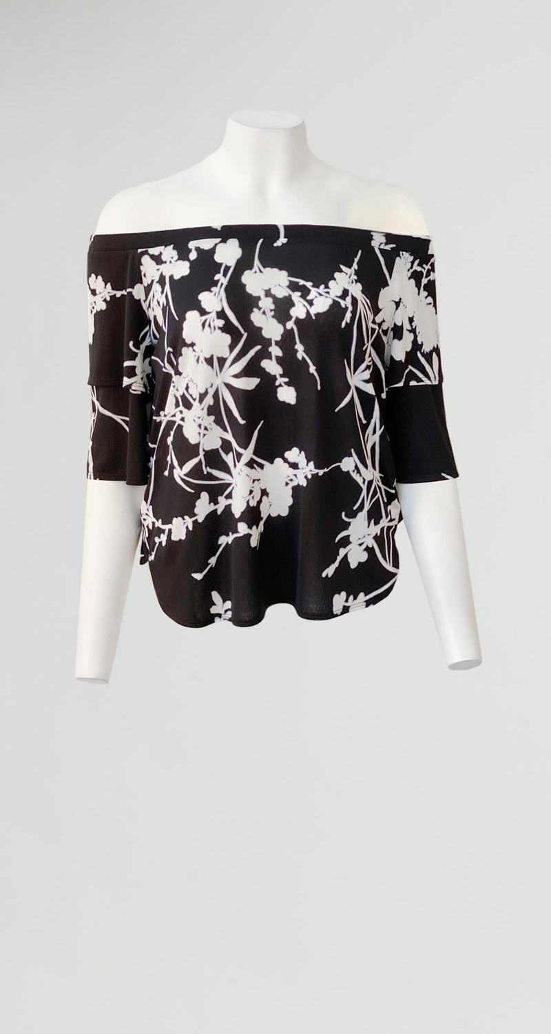 Floral Print Off Shoulder Teardrop Sleeve Top - Black/White - Final Sale! - Clara Sunwoo