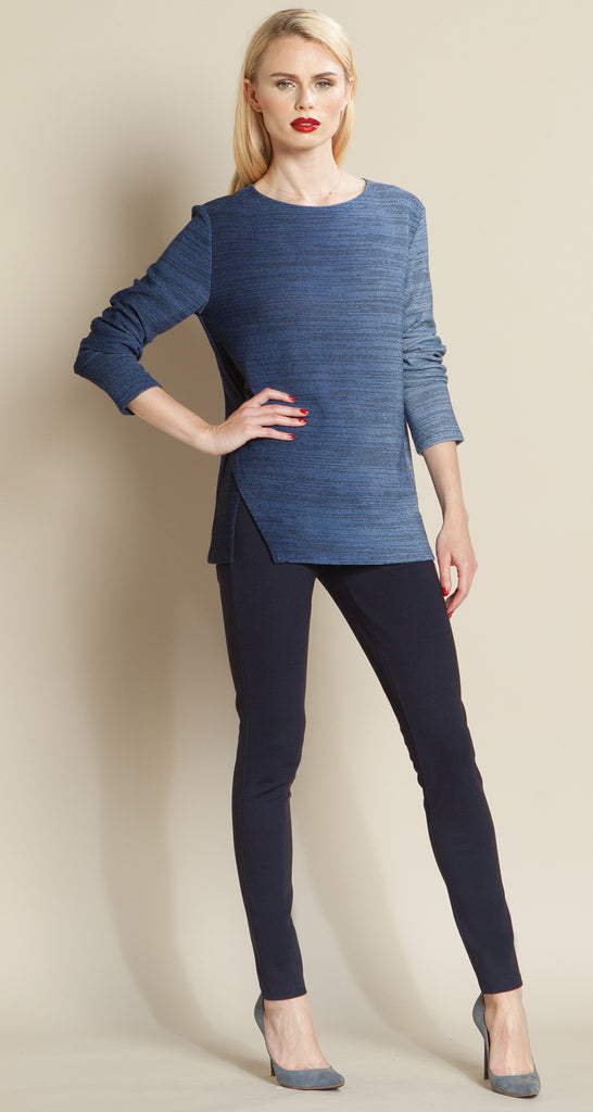 Ombre Scoop Neck Sweater - Blue