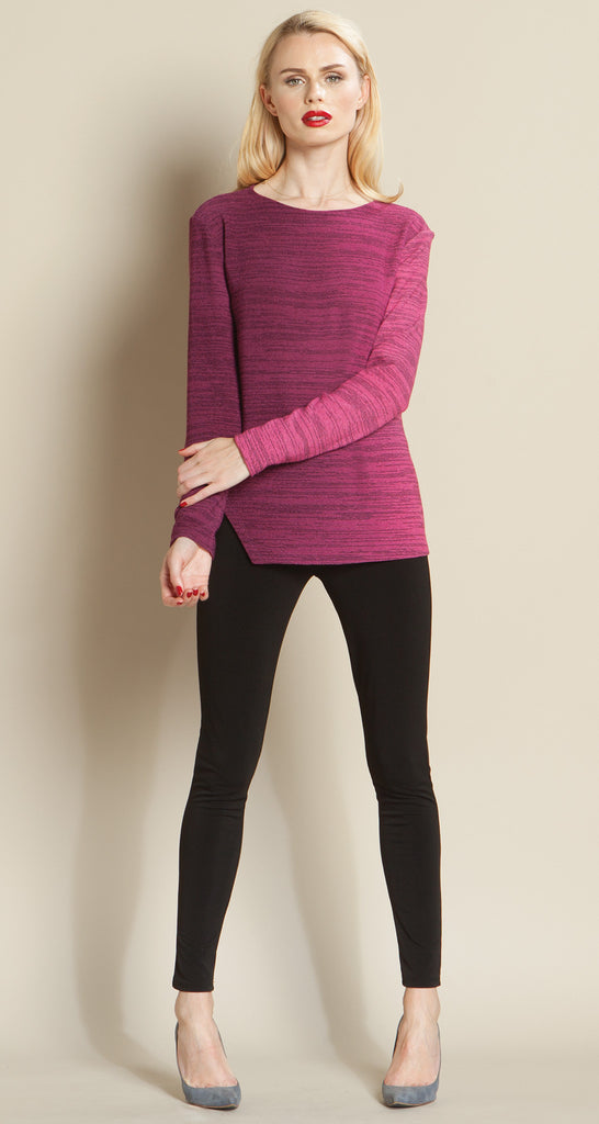 Ombre Round Neck Sweater - Plum - Final Sale