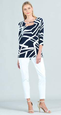 Zig Zag Stripe Print Front Cut Out Tunic