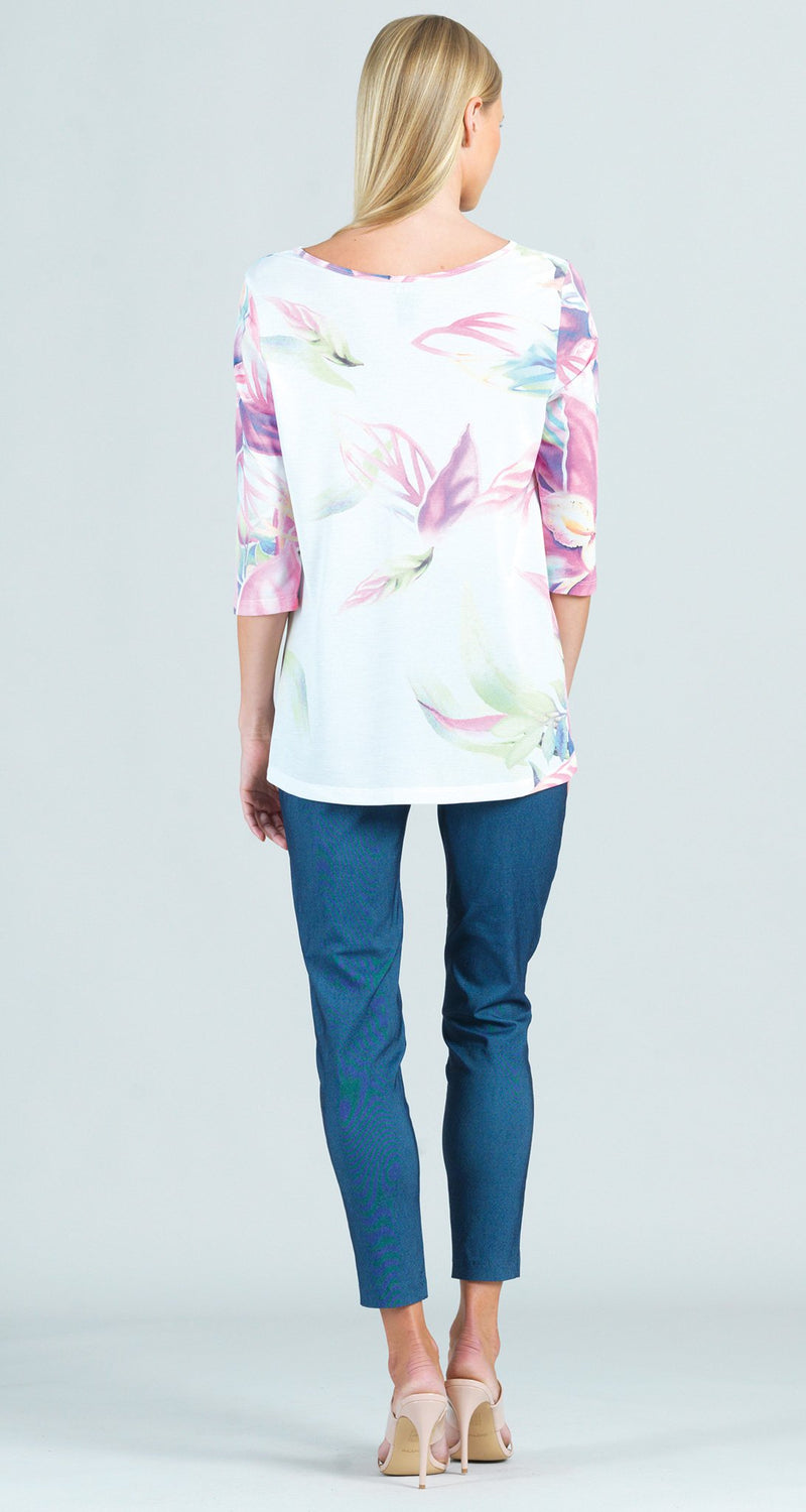 Watercolor Floral Gauze Print Scoop Neck Tunic