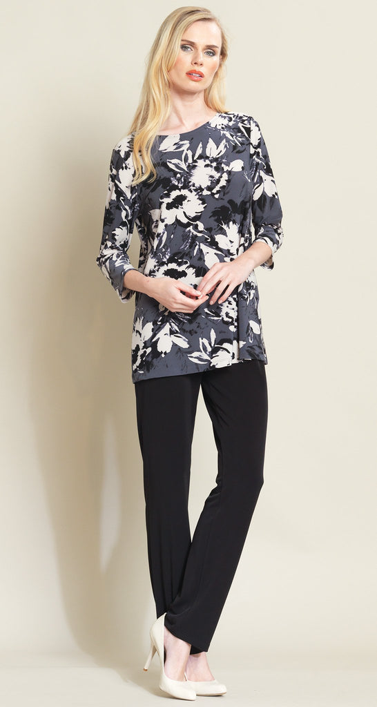 Peony Print Scoop Neck Tunic - Ivory/Charcoal