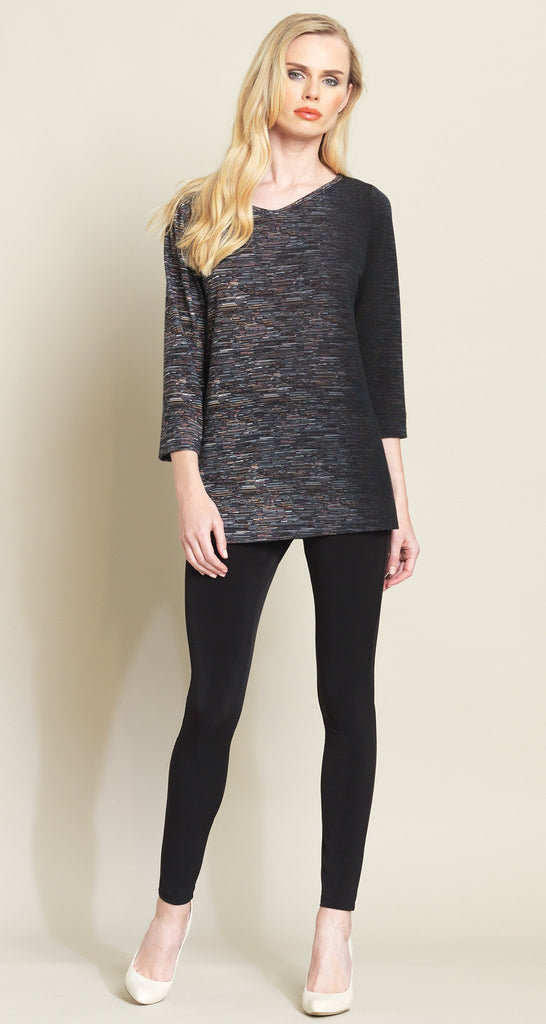 Ombre Stripes Sweater Tunic - Black