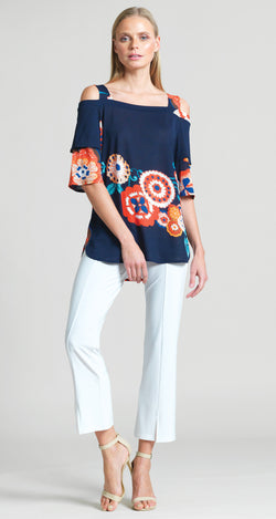 Crepe Knit Whimsical Flower Open Shoulder Teardrop Sleeve Top - Clara Sunwoo