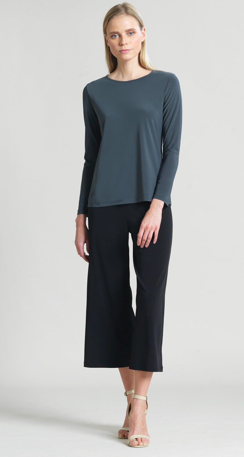 Basic Long Sleeve Scoop Top - Charcoal