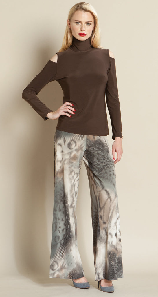 Mock Neck Open Shoulder Top - Brown - Final Sale!