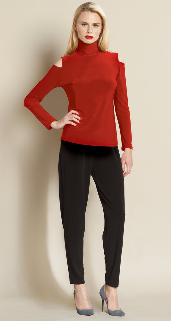 Mock Neck Open Shoulder Top - Red