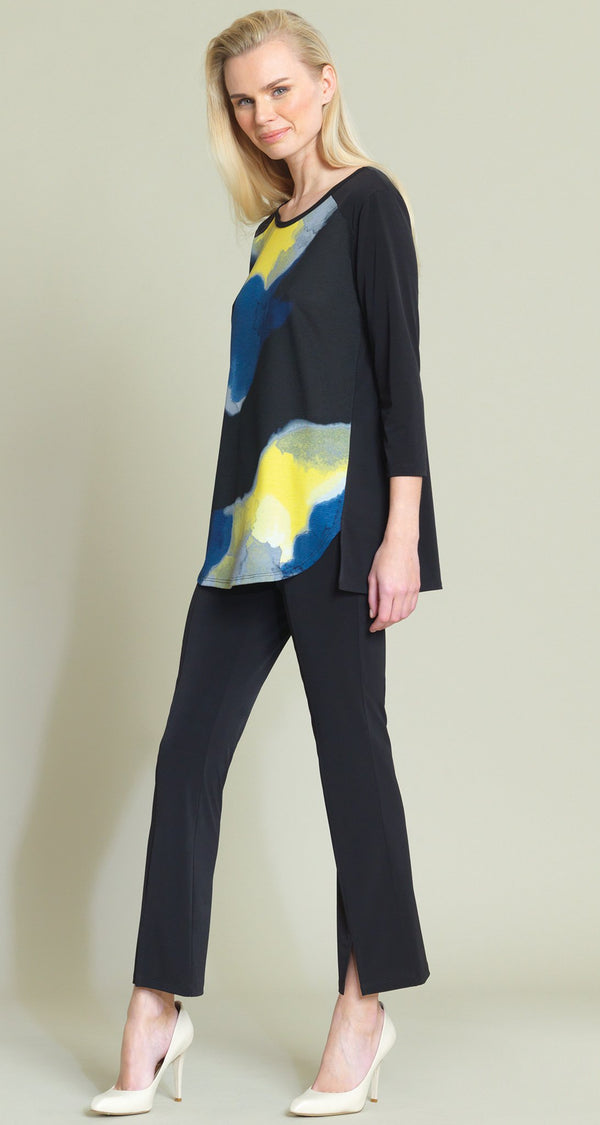 Watercolor Crepe Knit Open Hem Tunic - Final Sale! - Clara Sunwoo
