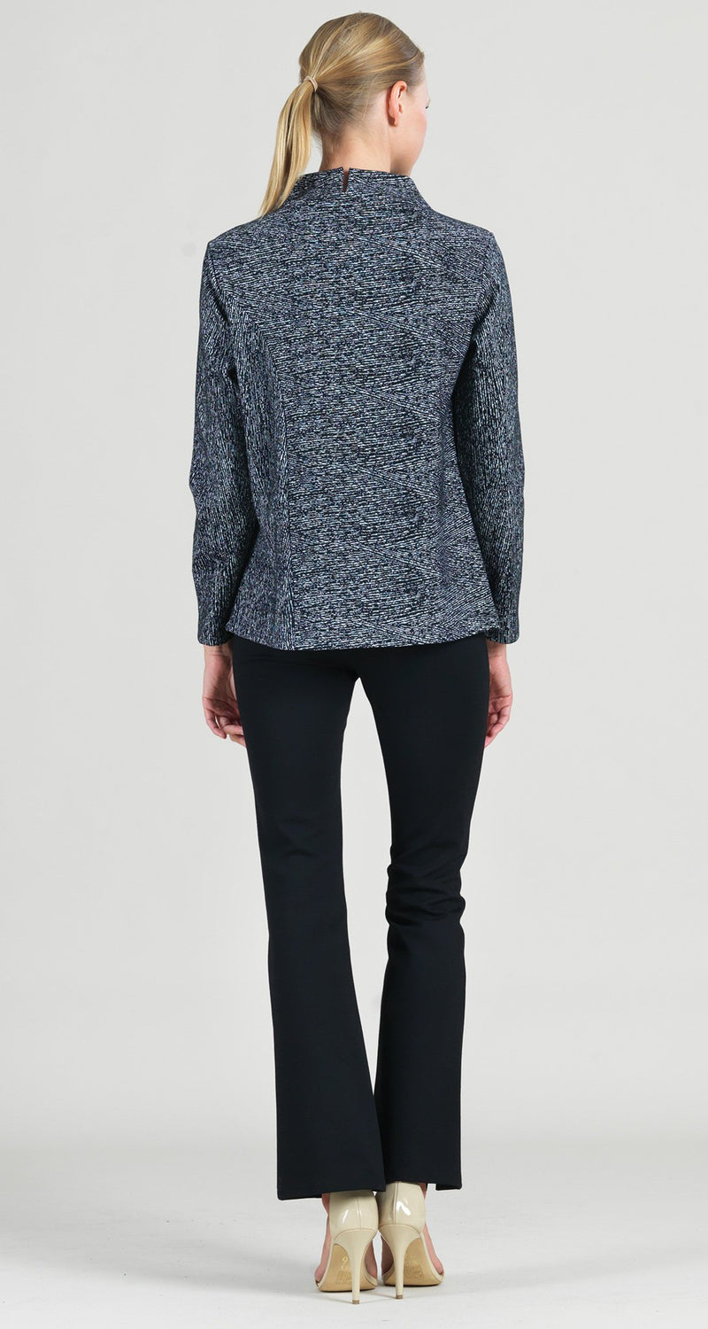 Jacquard Zigzag Funnel Neck Modern Hem Sweater Top - Final Sale!