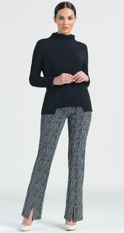 Ribbed Funnel Neck Modern Hem Sweater Top - Black - Final Sale! - Clara Sunwoo