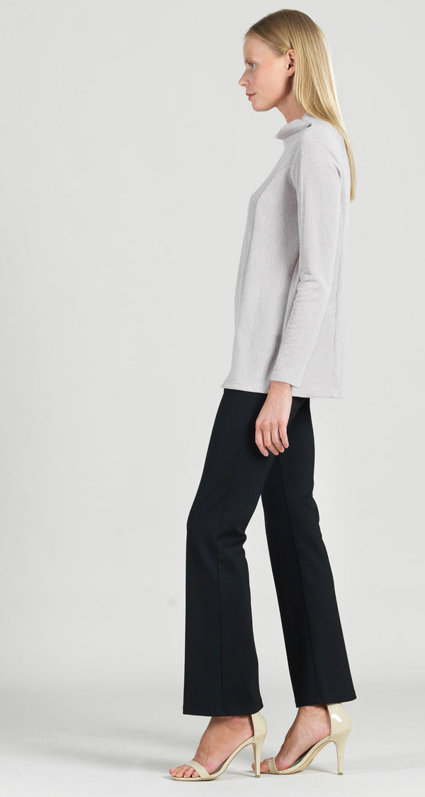 Ribbed Funnel Neck Modern Hem Sweater Top - Desert Sand - Final Sale!