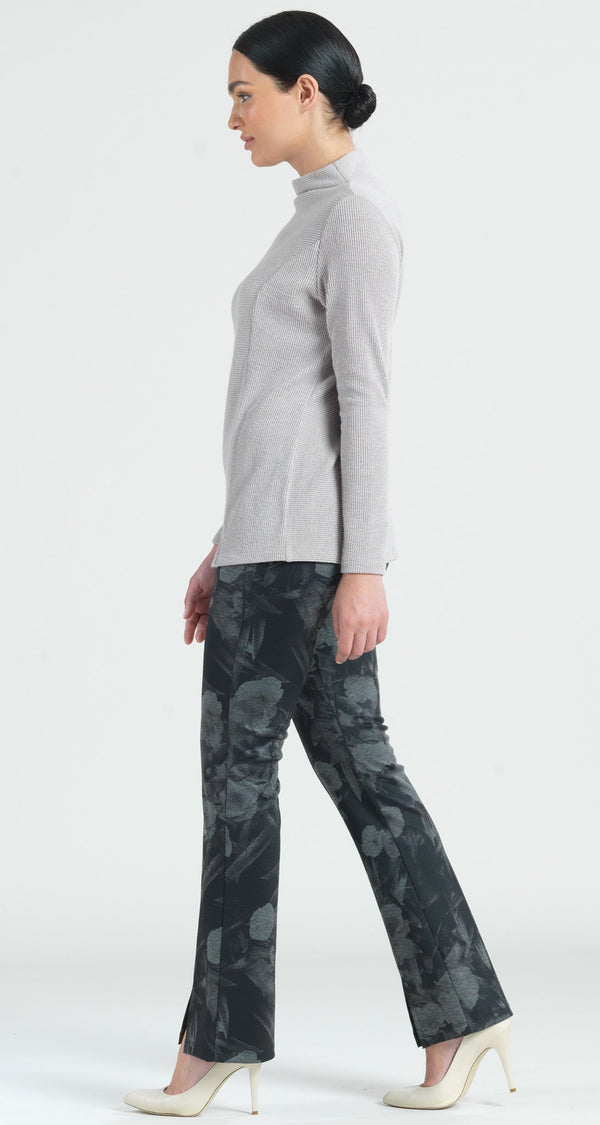 Ponte Floral Flash Print Kick Front Slit Pant - Grey - Final Sale! - Clara Sunwoo
