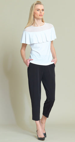 Mesh Insert Flounce Top - White - Final Sale! - Clara Sunwoo