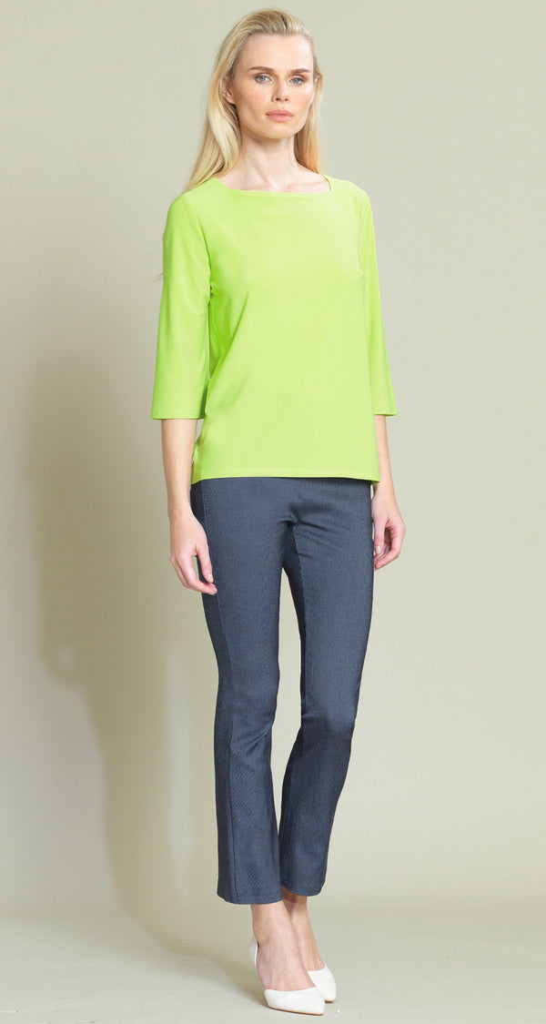 Rectangular Boat Neck Hi-Low Top - Lime - Final Sale! - Clara Sunwoo