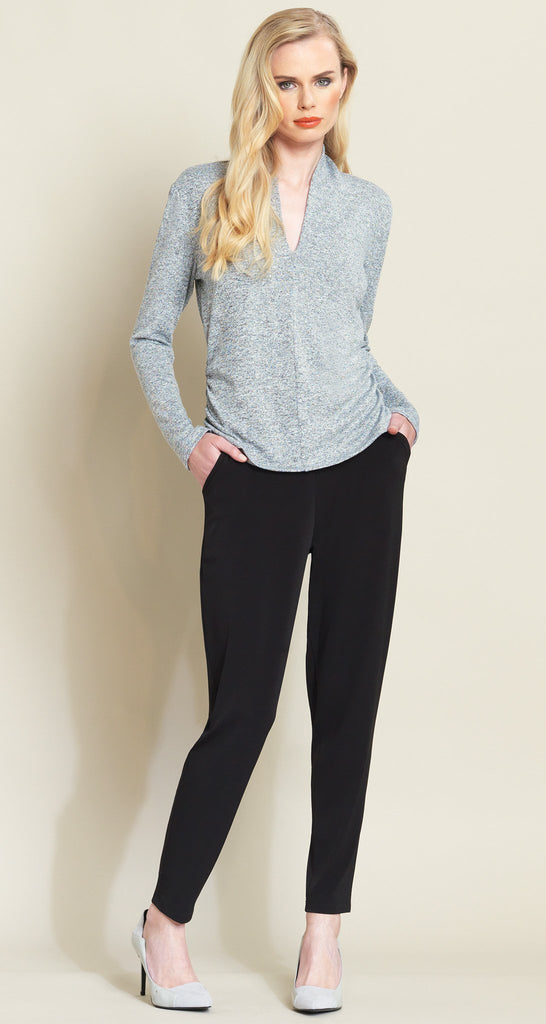 Narrow V-Neck Sweater Top - Grey