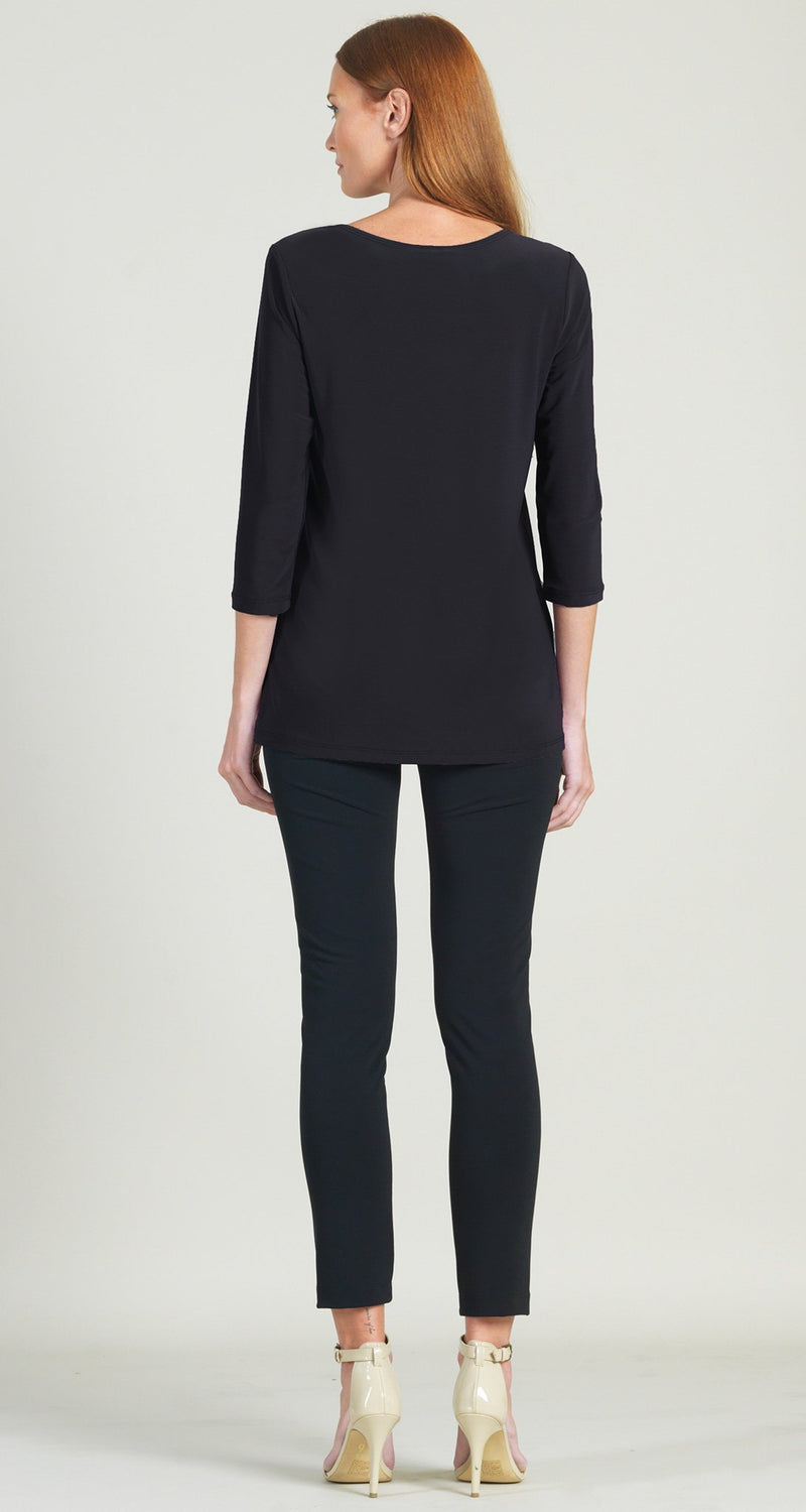 Rectangular Boat Neck Side Vent Tunic - Black - Limited Sizes!