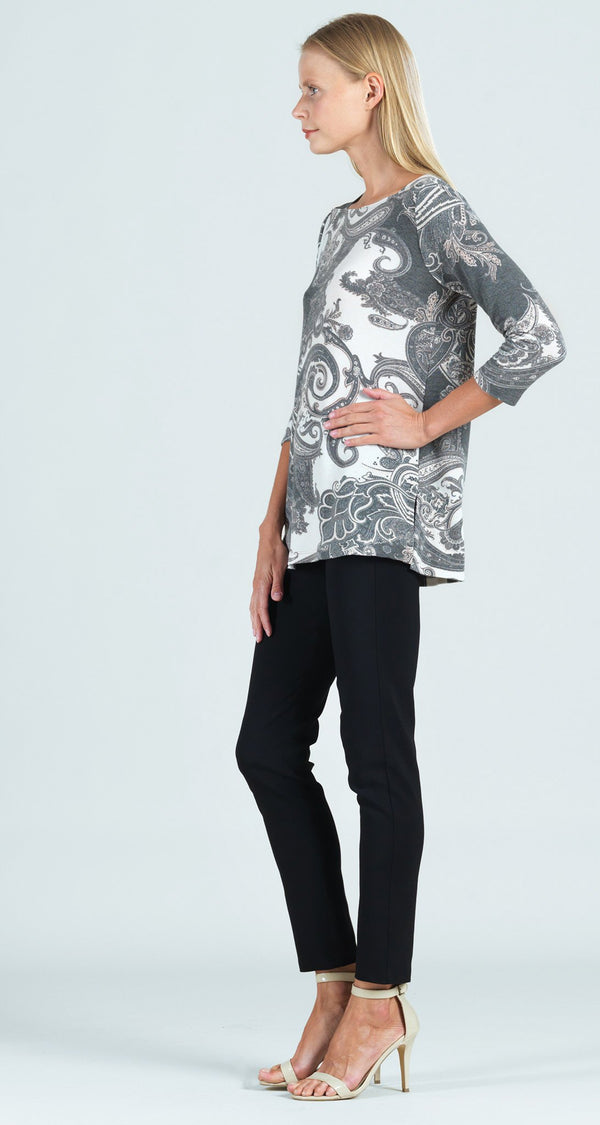 Cozy Paisley Print Rectangular Boat Neck Side Vent Sweater Tunic