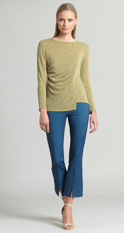 Cozy Ruched Side Sweater Top - Moss