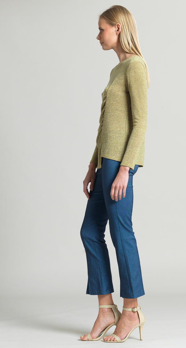 Cozy Ruched Side Sweater Top - Moss - Final Sale!